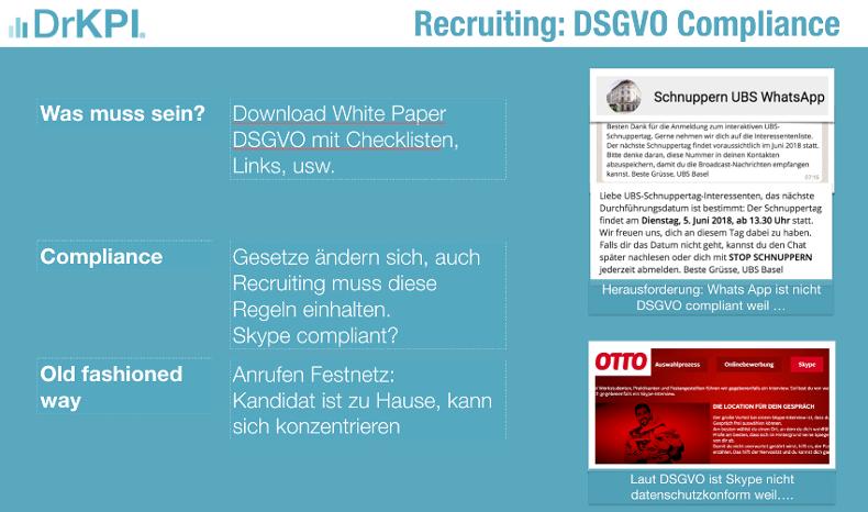 Whats App, Skype Facebook: Noch DSGVO konform für Marketing und Recruiting - 5 Min Check-Up mit DrKPI Tools.