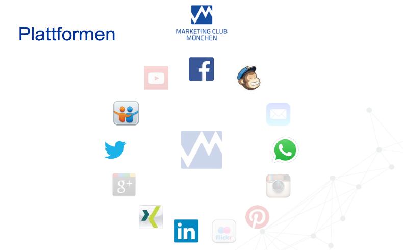 DMV Frühjahrstagung in Ulm: Social Media Workshop, die Social Media Networks die der Marketing Club München nutzt.