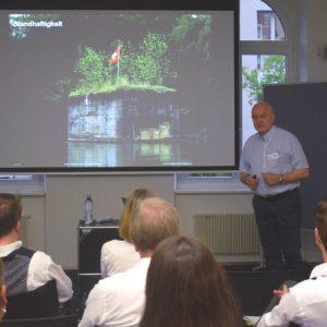 MCLago Event im Juni 2018 bei der Credit Suisse in Kreuzlingen: Edwin Schmidheiny referiert über Themen wie Markenwert, Markenstärke und die Marke Schweiz.
