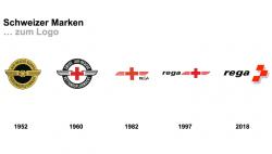 Wie sich das Logo mit der Zeit verändert, dabei aber immer noch seinen Werten treu bleibt... rega 2018 Logo von Accent Brand Consultants AG.