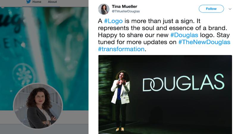 Tina Müller meint das neue #Douglas #TheNewDouglas Logo repräsentiert die Seele und die Essenz der Marke.