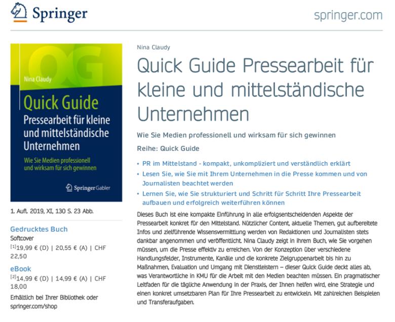 Nina Claudy Autorin - Kurzbeschrieb des Buches - Quick Guide: Pressearbeit für kleine und mittelstaendische Unternehmen - beim Springer Verlag.