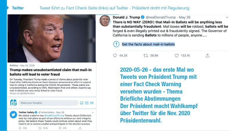 Digital Marketing: Trumps Tweet wurde mit einer Fact Check Warning versehen